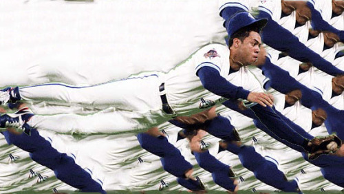 I'm not old enough to really remember Alomar as more than a highlight reel. I watched the team those years, of course, but when you're five years old, not much sticks. So I don't recall his pop-outs, whether or not he ran out routine grounders, his tendencies when down 0-and-2. I don't recall the circumstances surrounding his departure. Don't recall any of his foibles or missteps, really, besides the most obvious one. I remember precisely zero booted balls or wide throws, no third strikes taken bat-on-shoulder, no baserunning gaffes or mental mistakes. I hardly remember him in motion at all. What I remember are the stills from his cards. Splayed out parallel to turf in shallow right field. Suspended as if on wires above second base, hovering over a cloud of dirt and spikes, eyes locked on Olerud, somehow above it all. Arms raised as he exits the batter's box, a crumpled Eckersley just out of focal range. This is the iconic Robbie pose—for those of us who remember those years, it's our Jumpman. It even looks like Jumpman—legs spread wide, arm outstretched, like he's trying to occupy as much space as he possibly can, connoting defiance and virtuosity.  Robbie was enshrined in Cooperstown last summer, and watching him at the podium, you could still imagine him floating above second. You can imagine him receiving the ball from Fernandez, like he's meant to be there, yanked into place by some cosmic thread, fluidly pivoting and firing to first.