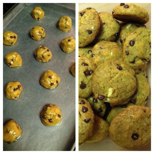 Yay me! First attempt at freshly baked vegan chocolate chip cookies! #beforeandafter #allveganeverything (Taken with Instagram)