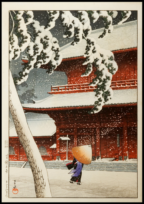 moika-palace:  Zojo Temple In The Snow by Hasui Kawase, 1925.