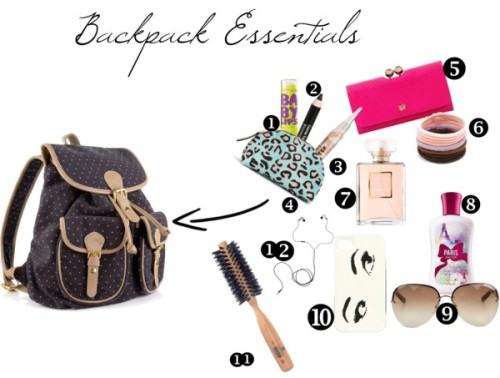 Backpack Essentials by dancing-in-destiny featuring chanel perfume