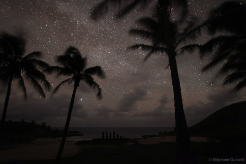 Moais at Dark  Visible at dark in this image is Anakena beach with its palm trees and the Moais of Ahu NauNau, Easter Island.