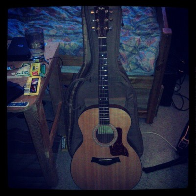 Borrowing this lovely Taylor 114 from my band mate for some work I'm doing this weekend. (Taken with Instagram)