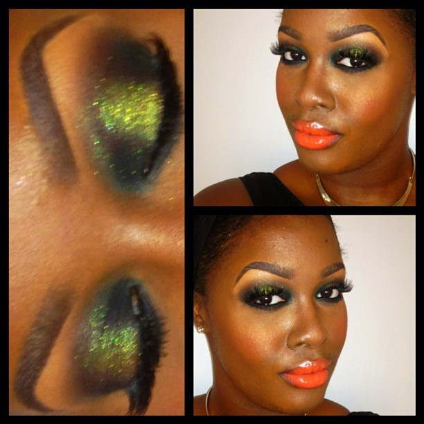 My #MOTD: Jungle Fever 🌴☀😌🌴 On the lids: Bottle Green (Pro Only, Inner and Outer corners and bottom Lashline), Inglot #84 pigment (center), Sketch (Crease), Feline Kohl Power (waterline). On the Cheeks: Pinch Me Blush, Nars Albatross (highlight). On the lips: Morange lipglass (Limited edition, use Morange lipstick and clear gloss for the same effect) #NoFilter #Iphonesia #Instagood #Ilovemaciggirls #Green #SmokeyEye #Makeup #Beauty #Inglot #Nars #MacCosmetics 💚 (Taken with Instagram)