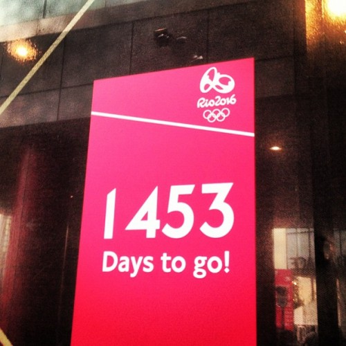 1453 days until Rio 2016! • #rio2016 #countdown #london2012 #pink #white #londonolympics #londonolympicgames #stratfordcity #stratford #eastlondon #london #england #greatbritain #unitedkingdom #reflection #glass #external #lights #august #2012 #lofi #lux  (Taken with Instagram at Stratford International Railway Station (SFA))