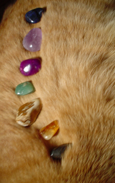 natural-magics:  silly picture of tumbled stones on my cat's fur. he started purring when i put them on him, but he also wanted to eat them :)