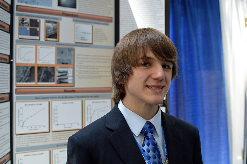 "publicradiointernational:  Fifteen-year-old Jack Andraka is a fan of ""Glee"" and likes to kayak. He's also the mind behind a new pancreatic cancer test that is 168 times faster than anything else in the field. In May, Jack won $75,000 at the Intel International Science and Engineering Fair for his test. He is currently working on getting this test patented. More. (Photo: Jack Andraka, via sciencenewsforkids.org)  Young Genius Jack should serve as a great role model for creative thinking in science and the perseverance. His pancreatic cancer test uses antibodies, basically little sticky proteins that serve as specific ""detectors"" for particular molecules. Our immune system uses antibodies as ""sentries"", watching for foreign molecules, and alerting the body's defenses when they stick to something that fits in their ""keyhole"", so to speak. The antibody he used recognizes a specific molecule on a certain cancer cell. The antibodies are attached to carbon nanotubes, and then patient samples are washed over them. If the cancer molecule sticks to the antibody (a ""positive"" test), then an electric signal is detected! Cool idea, Jack. We'll keep our eyes out for more from this smart guy."
