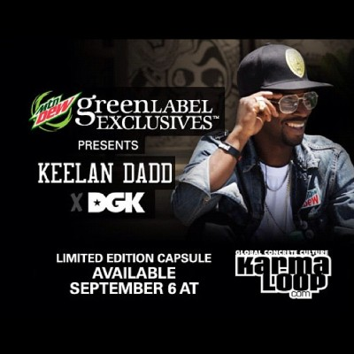 karmaloop:  Look out for our exclusive collab dropping Sept 6th with @keelandadd @dgk @mountaindew! #DewDGK #Karmaloop (Taken with Instagram)