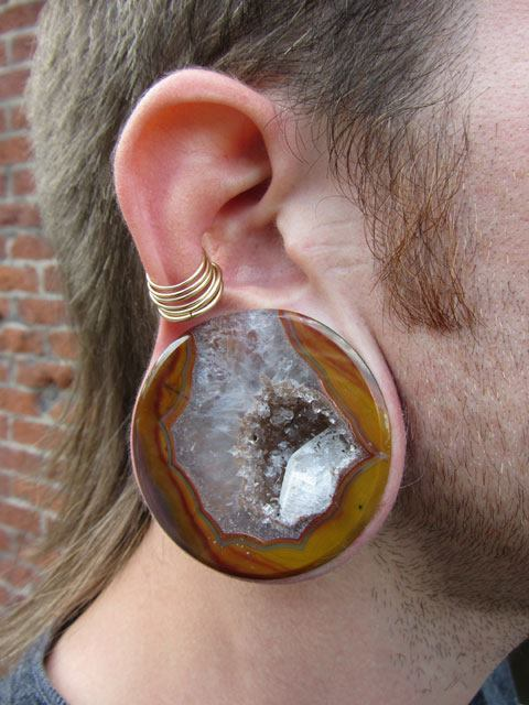 Condor Agate plugs made by Relic Stoneworks.