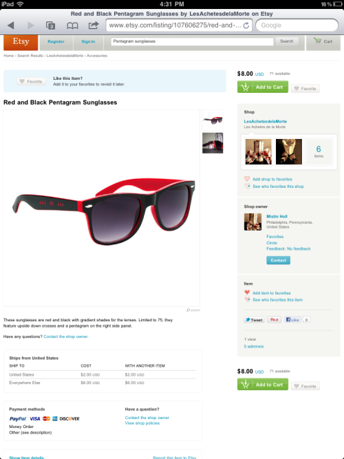 pagodapunx:  Buy these sunglasses from me! http://www.etsy.com/listing/107606275/red-and-black-pentagram-sunglasses?ref=sr_gallery_1&ga_search_query=pentagram+sunglasses&ga_view_type=gallery&ga_ship_to=ZZ&ga_min=0&ga_max=0&ga_search_type=all  Need some cheap sunglasses and want to make your Mom angry and your neighbors uncomfortable when you walk by?Get a pair of these!