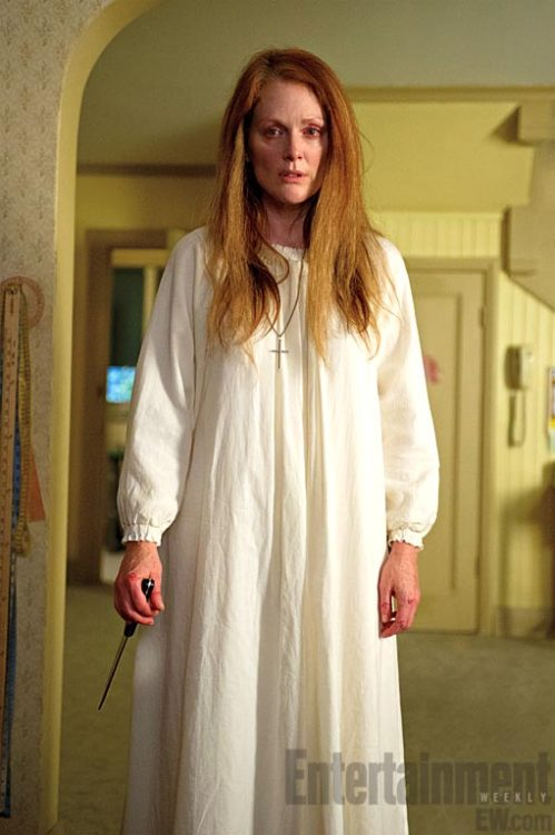mrgolightly:  cinematicinsomniac: bohemea:  Julianne Moore in Carrie  I am usually so opposed to remakes, especially when it comes to perfect originals like Carrie, but Julianne Moore as the crazy religious mom of a telekinetic Chloë Grace Moretz? There. There. Camping out and slapping bitches for a front row seat. There.  I just really don't know how I feel about this.