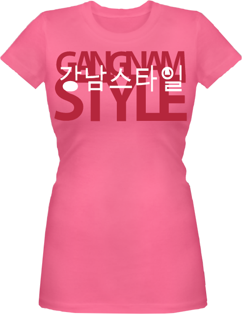 As posh as folks in a Seoul neighborhood, as hip as anyone anywhere. Be Gangnam Style or be left behind. Good luck learning the lyrics, but they don't really matter anyway. If you laugh at Psy in his m/v, laugh with your friends in this shirt.  The definitive female Gangnam Style garment available at inTEEnet.