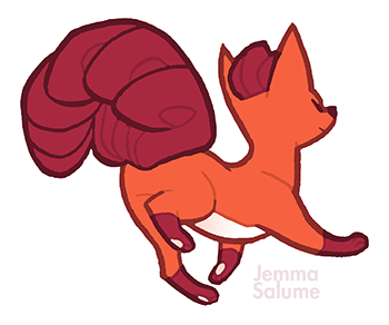 "oxboxer:  pkmnathon:  Too fierce to care! Vulpix is outies~  I wish I had a job where the whole job was to draw Vulpix in various stages of ""bye, haters""."