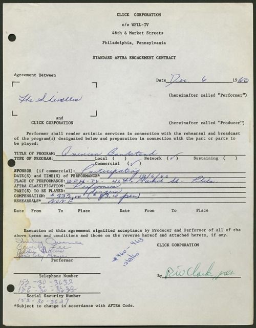 "…original (Dick Clark Television Productions) contract dated December 6, 1960, for an appearance by…""The Shirelles,"" on American Bandstand. The contract has been signed by all four members…Shirley Owens, Addie Harris, Beverly Lee, and Doris Coley Kenner…in blue ballpoint pen, and by Dick Clark in green ballpoint…The Shirelles were one of the first popular girl groups and among the few to write their own songs. Their hit, ""Will You Love Me Tomorrow,"" released one month earlier, was the first record by a black female group to hit the top spot in the Pop chart.  for sale, or was."