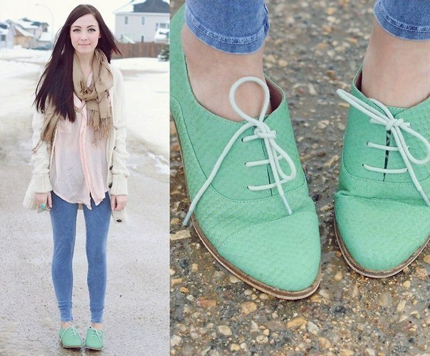 I would like these minty green oxfords, please! (via FashiOnly: Looks)