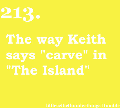 "little celtic thunder things #213: The way Keith says ""carve"" in ""The Island"". ""Still tryin' to carve tomorrow from a tombstone…"" listen here at about :40 seconds http://littlecelticthunderthings.tumblr.com submitted by draconis-rose"