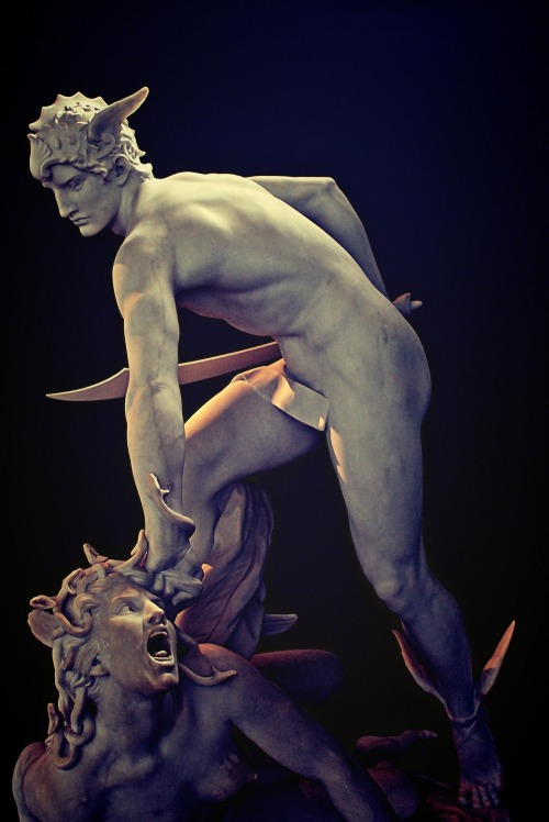 webissance:  Perseus slaying Medusa, Laurent-Honoré Marqueste - 1903  And she's still straining her neck to get one last peek at his junk.