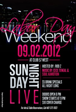 Sunday Night Live: Labor Day Weekend Event feat. LIVE music by CeCe Teneal & Soul Kamotion. Sun. Sept 2nd 8pm