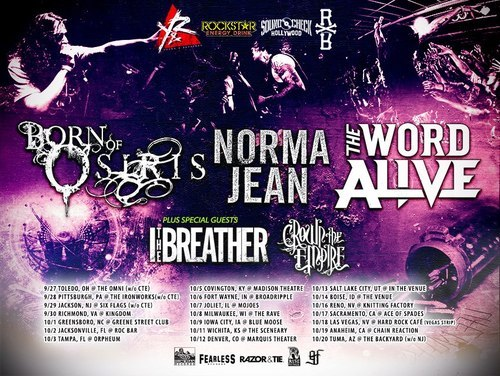 Born Of Osiris adds more tour dates for their tour with The Word Alive, Norma Jean, I The Breather and Crown The Empire.