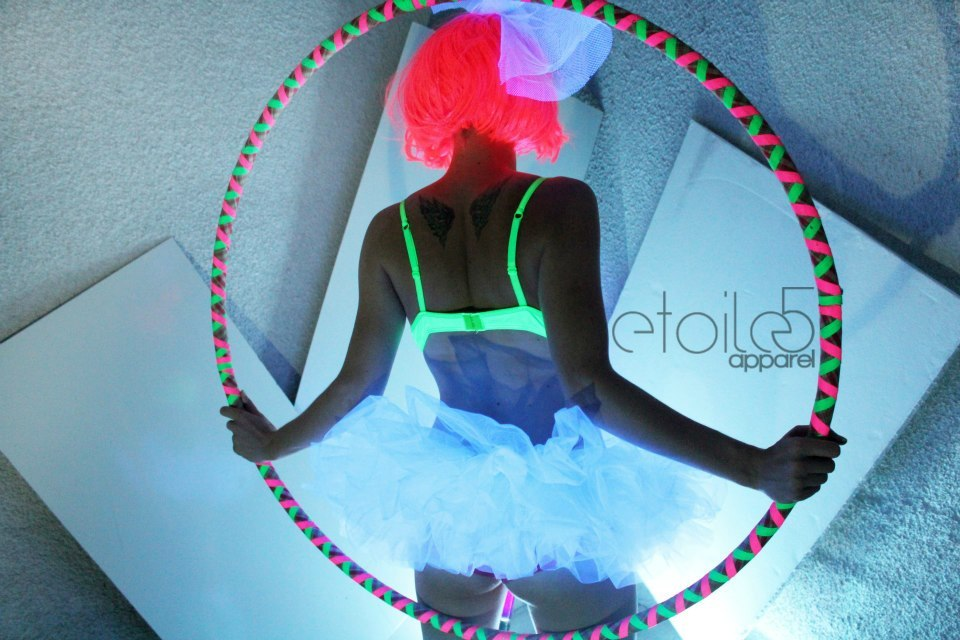 This is Rei's hoop under a black light byEclipsedHoops, Featured in a shoot for Etoile5apparel!