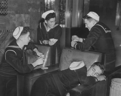 Sailors at Union Station, Los Angeles, 1945