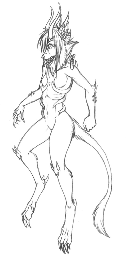 And here is another sketch of Khthonia. I was gonna start a reference sheet, but I don't have the energy or time for it. So I may just finish it as a stand alone image instead.
