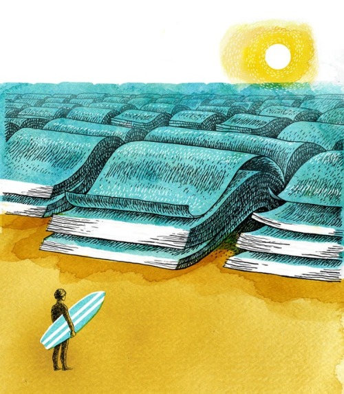 A sea of books / Un mar de libros (ilustración de Doug Salati)