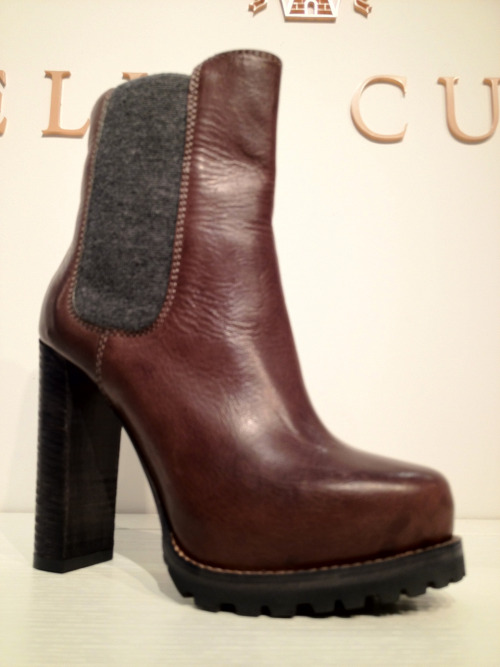 Cucinelli shows their edgier side with this super-stacked Vibram soled boot.