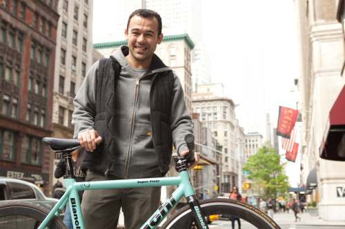 Marcelo Garcia in New York with his Bianchi Pista Fixed. Shot during filming of Rolled Up episode 36
