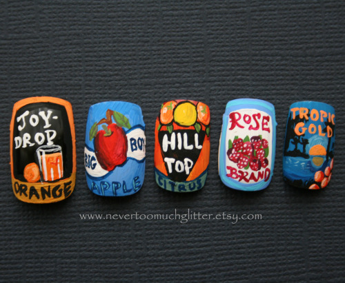 nevertoomuchglitternailart:  Handpainted vintage fruit crate label nails.