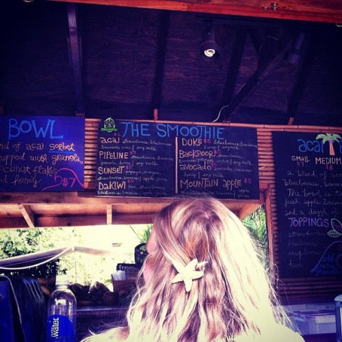 It's a perfect day for any of the bowl's many refreshing options! Hit the beach an swing by! Open til 7 (Taken with Instagram at Haleiwa Bowls)