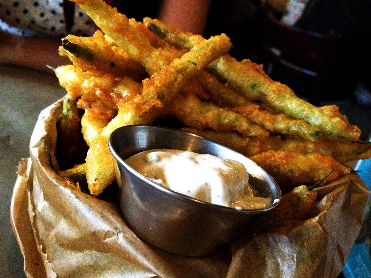 Beer & Burger's deep fried green pea fries. Best way to eat your greens: deep fry 'em. -Braised Bombshell