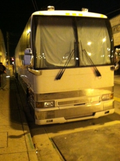 This is the Fuel bus. Hello rock gods…I want one. We played a great set with Fuel who was very impressive. Made some cool new friends and fans. Fuel was awesome. They played well and it reminded me how heavy they actually are. As i walked into the lounge in the front of the building there were some hipsters playing with tight turquoise skinny jeans. It reminded me of just how big my distaste is for hipsters. Here's what i have to say to you (hipsters), learn how to play your instrument. Hip has never meant mediocre. In other news the Fuel guys were great and really had no ego. Spent some time talking to Brett the singer who signed the Fuel cd that i've had since i was a kid, and i spent some time talking to the bass player who used to be in shinedown. We discussed some of our mutual friends and it was a great night. Hope to keep these big gigs up!