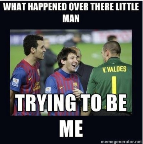 #valdes trying to be #messi #graciasvaldes #supercopa2012 #barcelona #realmadrid