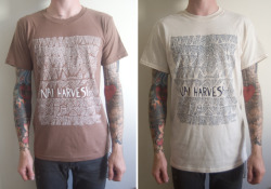 Nai Harvest - One colour, white print on chestnut brown / navy print on natural shirts. These guys are rad and heading to Europe in a few days with Hindsights. Check them out here.