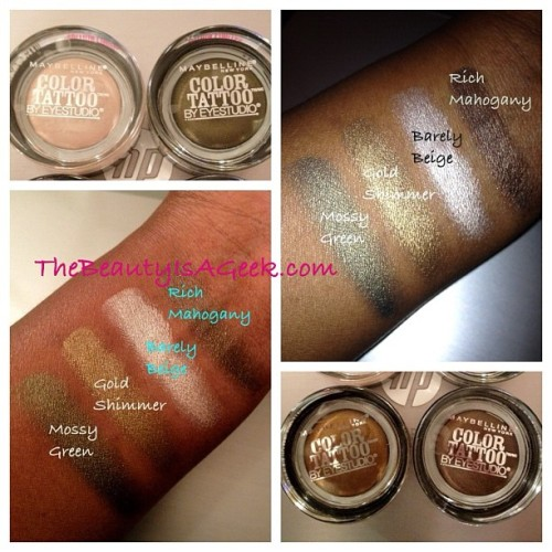 Swatches of @maybelline's new Fall 2012 Color Tattoo cream shadows. Love these! #maybelline #eyeshadow #swatches (Taken with Instagram)