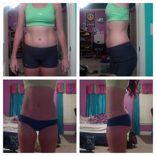 "beforeandafterweightlosspics:  healthy-fit-happyy I am 5'8"" and 142 pounds. The different between the top two pictures and the bottom two are a total of 2 pounds. Just goes to show what toning can do for you :)"