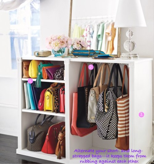 DIY Handbag Storage : Lucky Magazine This looks to be a renovated dresser of sorts. But I am sure there are plenty ready made cabinets similar to this. I know it tempts me to start buying more clutches!