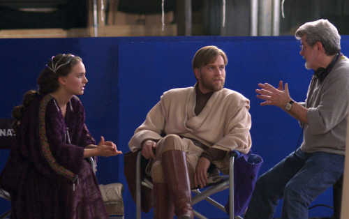 "theacademy:  George Lucas coaches Ewan McGregor and Natalie Portman on the set of ""Revenge of the Sith."" Photo Credit: The Margaret Herrick Library  Notice the confused… almost angry looks…"