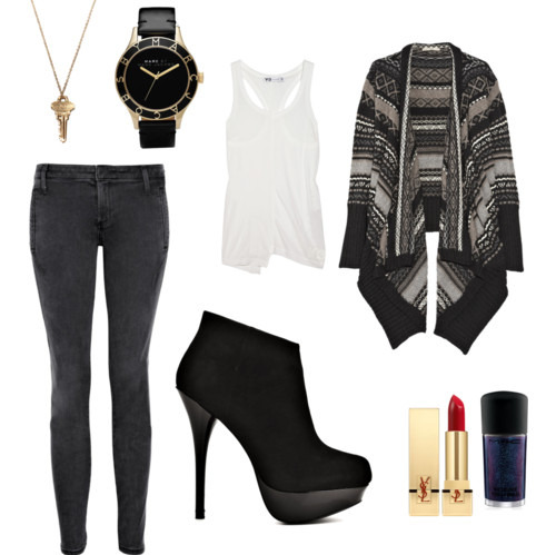 Clothes,Fashion,Heels,Jeans,Lipstick,Outfit,Sweater,Warm,Watch,Polyvore,