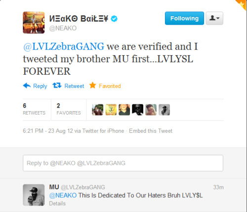 NEAKO's Historic First Verified Tweet Screenshot