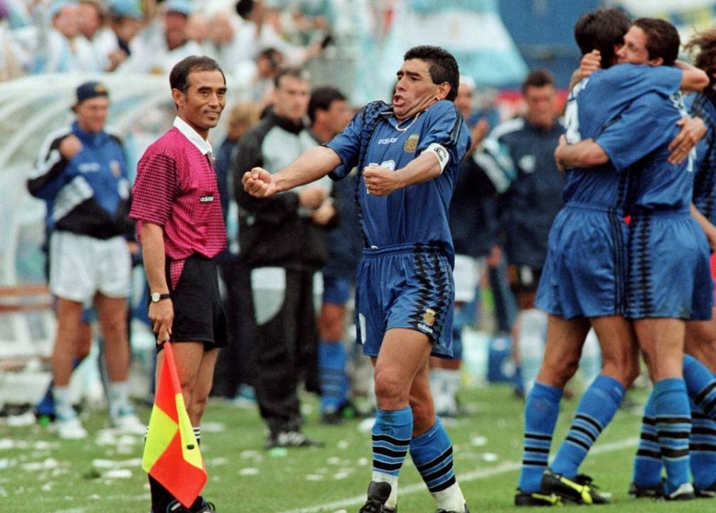 Maradona celebrates Argentina's second goal next to linesman Park Hae-Yong. World Cup '94 v Greece. Source: SentraGoal