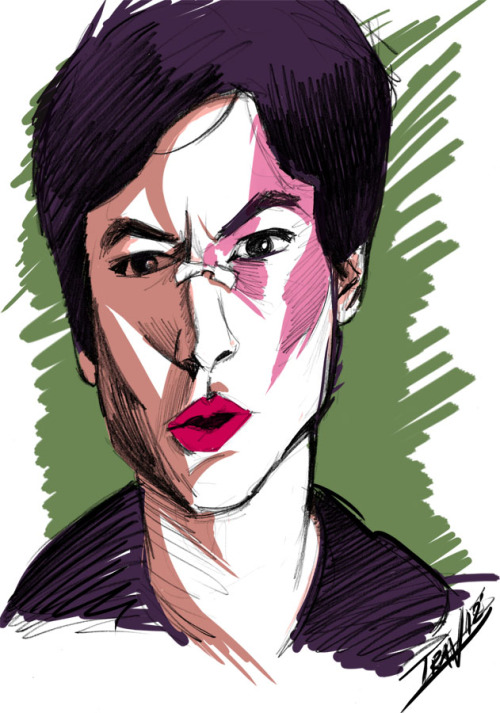 Quick sketch & color study of actor Ezra Miller. Pencil sketch scanned into Photoshop 8-23-12