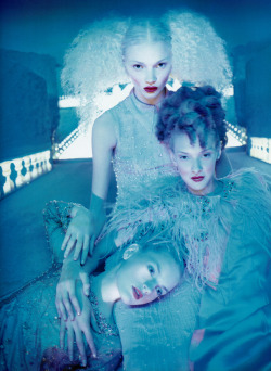 "Guinevere van Seenus in Chanel, Jodie Kidd and Chrystele Saint-Louis Augustin in Valentino Fall 1995 Haute Couture for ""If the Couture Could Talk"" by David Lachapelle, Vogue Paris September 1995"