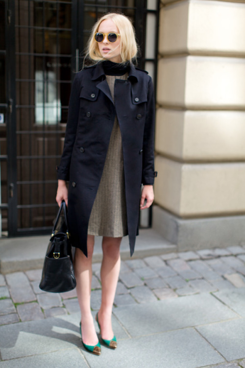 awelltraveledwoman:  olivemylove:  Emerson Black Trench, Turtleneck Black, Sleeveless Mod Mocha Herringbone, Toe Patch Slingback Bronze & Racing Green  Why Emerson, WHY!?