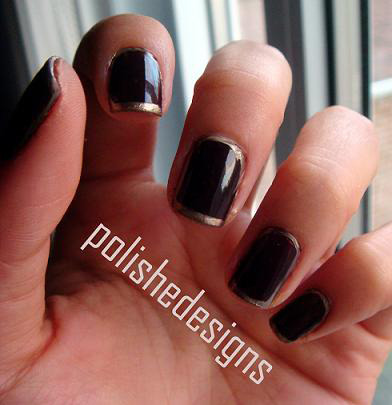 Outline Essie Velvet Voyeur (base)Sally Hansen Salon Gilty Pleasure (gold)
