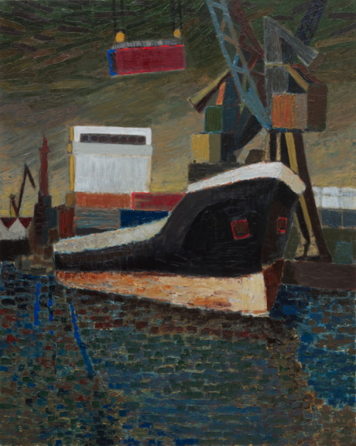 Edwin Gardiner Container Ship (re-worked version) 122 x 153 cm oil on linen 2012 www.edwinart.com