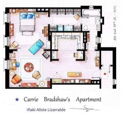 jelenanightonthesun:  Carrie Bradshaw's apartment.  Brilliant.