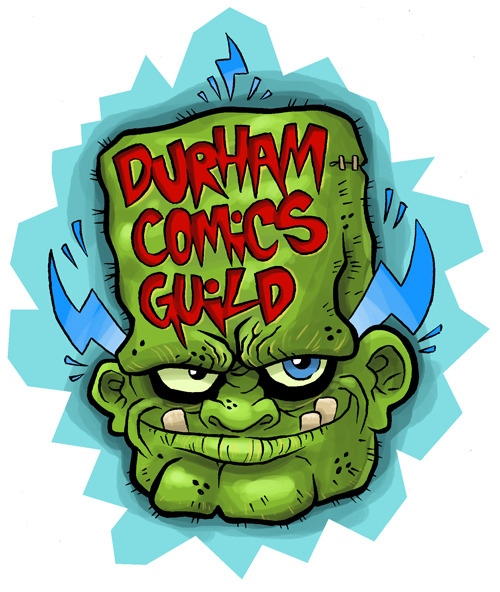 theinkfiend:  New logo for the Durham Comics Guild. The Guild has been running for over four years now. We had a short hiatus last year, but now we're back on track! The Guild is comprised of artists and writers who meet each week to collaborate on comics, sketch, write and share ideas.
