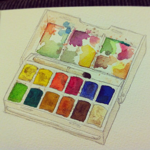 Watercolour of watercolours by jellibat