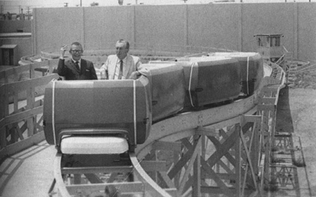 ispeakpixel:  A photograph of Walt Disney test-riding the People Mover on a temporary track. I repeat: a photo of Walt Disney on the People mover.  I'm bummed that Walt never saw the finished product, but glad that he at least got to test it out.